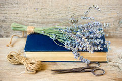 Lavender flowers. On rustic wooden background Stock Photography