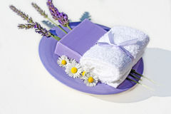 Lavender flowers and a soap Stock Photography