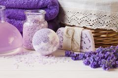 Free Lavender Flowers, Soap, Aromatic Sea Salt And Towels. Concept For Spa, Beauty And Health Salon, Cosmetics Store. Natural Cosmetics Stock Photography - 135234452