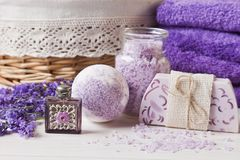 Free Lavender Flowers, Soap, Aromatic Sea Salt And Towels. Concept For Spa, Beauty And Health Salon, Cosmetics Store. Natural Cosmetics Stock Images - 135234454