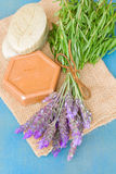 Lavender flowers and soap bars Stock Photography