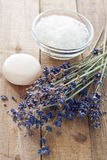 Lavender flowers with soap and bath salt Stock Image