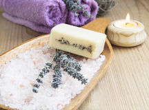 Lavender Flowers and soap with Sea Salt Spa Still Life Royalty Free Stock Image