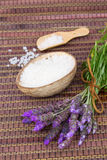 Lavender flowers spa set Stock Images