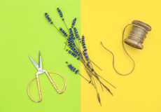 Lavender flowers and vintage scissors minimal flat lay Royalty Free Stock Photography