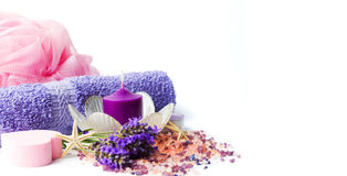 Lavender flowers and wellness accessories stock photo