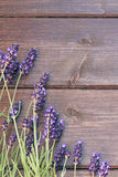 Lavender flowers on the wooden desk Stock Photo