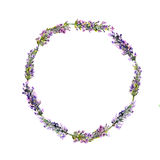 Lavender flowers wreath. Watercolor Stock Images
