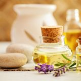 Lavender fragrance oil Stock Images