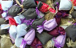 Lavender fragrance pouch. Fragrance.and perfume pouches made of lavender flower crown smell mis decor beauty handicrafts knitting yarn purple plant garden oil stock image