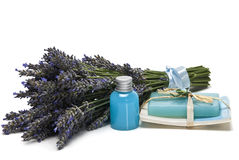 Lavender, gel and soap. Royalty Free Stock Photos