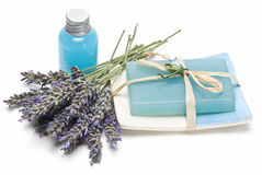 Lavender gel and soap for bathing. Stock Photography