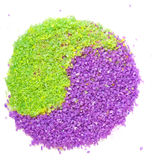 Lavender and green tea sea salt in yin-yang sign Stock Photos