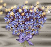 Lavender greeting card. Valentines day Flowers decor on wood background Vector. Illustration stock illustration