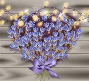 Lavender greeting card. Valentines day Flowers decor on wood background Vector. Illustration Stock Illustration