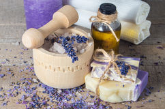 Lavender handmade soap and aromatic oil with sea salt in a mort stock photo