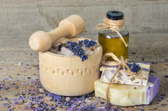 Lavender handmade soap and aromatic oil with sea salt Royalty Free Stock Photography