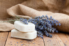 Lavender handmade soap bars Royalty Free Stock Photos