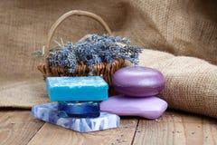 Lavender handmade soap bars Royalty Free Stock Images