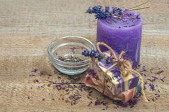 Lavender handmade soap and candle. Royalty Free Stock Photo