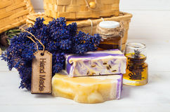 Lavender handmade soap,oil Royalty Free Stock Photos