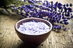 Lavender herb and salt Stock Photos