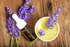 Lavender herbal extract. Close up royalty free stock photography
