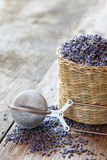 Lavender herbal tea in basket and tea infuser. Royalty Free Stock Images