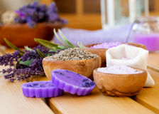 Lavender herbs and bath salt Stock Photography