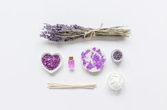 Lavender herbs in body care cosmetics top view space for text Stock Image