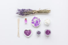 Lavender herbs in body care cosmetics top view space for text Stock Photo