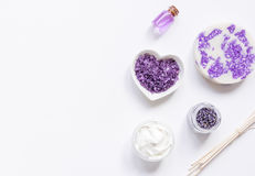 Lavender herbs in body care cosmetics top view space for text Stock Images