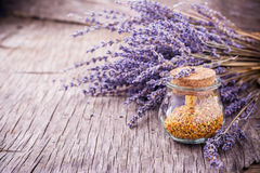 Lavender honey with bee pollen Royalty Free Stock Photography