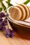 Lavender honey with fresh flowers. sweet food Stock Photos
