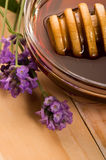 Lavender honey with fresh flowers. sweet food Royalty Free Stock Photo