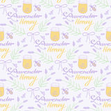 Lavender honey. Hand-drawn seamless cartoon Royalty Free Stock Photo