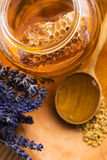 Lavender Honey With Bee Pollen And Honey Comb Royalty Free Stock Images