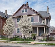 Lavender House with Flowering Pear Trees Stock Photos