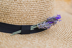 Lavender inserted in black ribbon on wicker straw flaxen hat. Twig of fresh purple fragrant lavender inserted in black ribbon on wicker straw flaxen hat Stock Photo