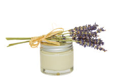 Lavender and jar with cream Stock Photography
