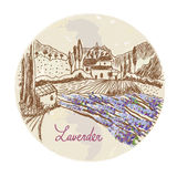 Lavender label with skethy landscape and flowers Stock Photos