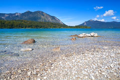 Lavender lake Walchensee in Bavarian Alps Stock Photo