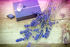 Lavender and lavender soap Royalty Free Stock Photo