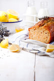 Lavender, lemon cake with fresh lemons and lavender flowers Stock Photography