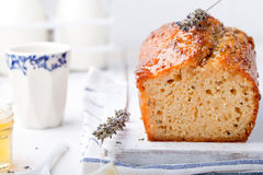 Lavender, lemon cake with fresh lemons and lavender flowers Royalty Free Stock Image