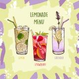 Lavender, Lemon, Strawberry Lemonade set in glass cup with drinking straw. Refreshing summer drink vector clip art illustration, stock illustration