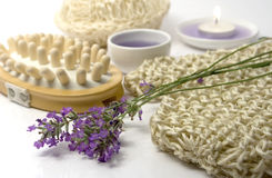 Lavender massage. Spa massage equipment with lavender flower and extract Stock Photo
