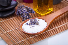 Lavender massage oil and bath salt aroma therapy wellness Stock Image