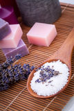 Lavender massage oil and bath salt aroma therapy wellness Stock Photo