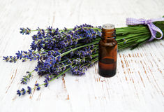 Lavender and massage oil Royalty Free Stock Images